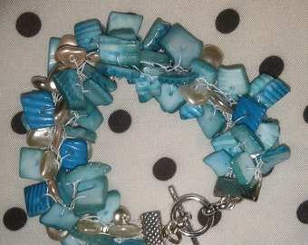 Hand Knit Turquoise- and Silver-Colored Bead Knitted Bracelet