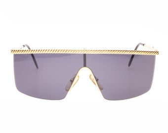Mimmina twisted rope gold flat-top shields - wrap sunglasses made in Italy in the 1980s, NOS
