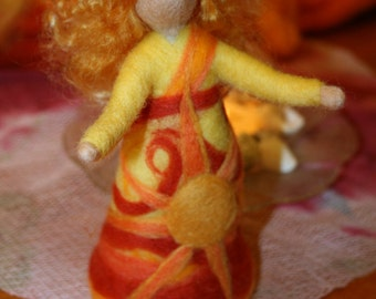 SUMMER Felted Art Doll Sun Goddess