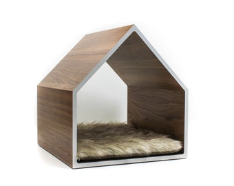 Modern Pet House | Cat House | Small Dog House | Walnut, Birch, or White Oak + Colored Laminate | Optional Fur Cushion