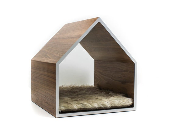 Modern pet house cat house small dog house walnut for Architecture and design dog house
