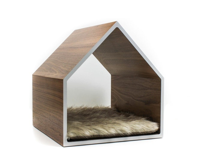 Featured listing image: Modern Pet House | Cat House | Small Dog House | Walnut, Birch, or White Oak + Colored Laminate | Fur Cushion NOT included
