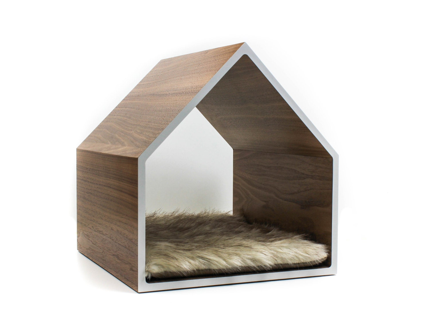 Modern Pet House Cat House Small Dog House Walnut