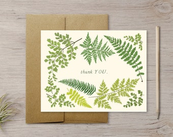 Illustrated Fern Thank You Card with Kraft Envelope