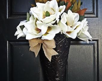 Magnolia Bucket Wreath, Hanging Basket Wreath, Burlap Magnolia Wreath,  Cream Flower Wreath,