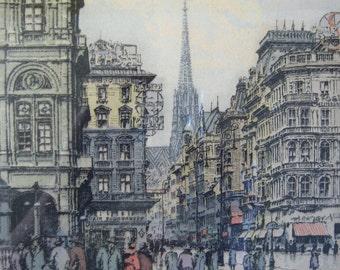 Hans Figura Print - Signed Etching - 16 x 18 Vintage Framed Art Print - Austrian Street Scene - European Cityscape - Gold Frame w Glass