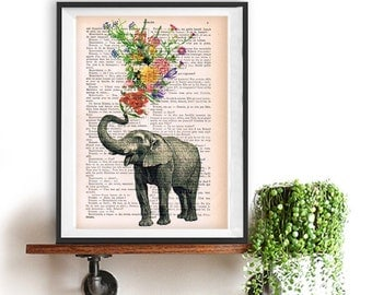 Elephant with Flowers - Love book print - Elephant in love - Printed over vintage dictionary book page, Elephant art print