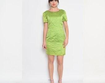 Vintage 90's Silk Lime Green Mini Dress