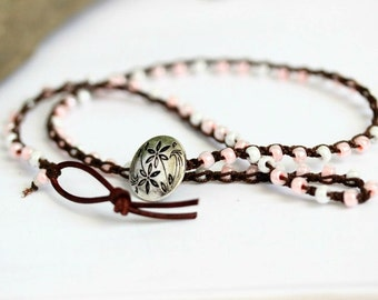 Crochet and Leather Wrap Bracelet, Necklace, Pink and White Bracelet, Button Bracelet, Boho Chic, Seed Bead Bracelet, Three Wrap Bracelet