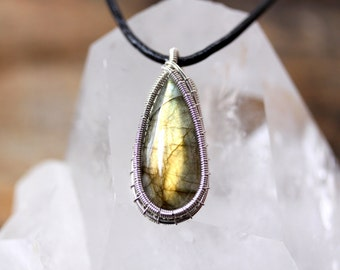 PROTECTION: Labradorite Wire Wrapped Pendant in Sterling Silver