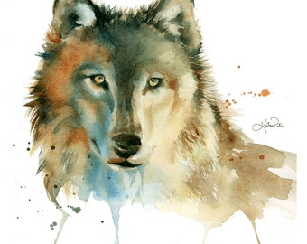Wolf watercolor print. Wolf painting, woodland prints, woodland nursery decor, rustic wall art, woodland animals, wall art, modern wall art