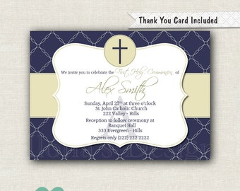 Nautical Communion Invitation - Nautical Baptism Invitation - Monogram Invitation - Free Thank you card