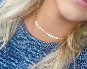 New! Gold Filled Coin Choker Necklace, Gold Dotted Choker, Sterling Silver Choker Necklace, Coin Tattoo Choker, Sequin Bohemian Disc Choker