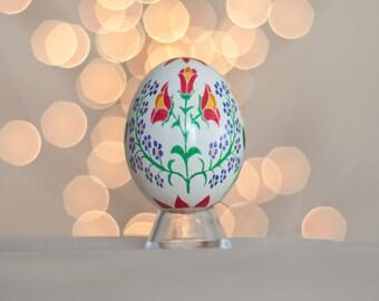 Flower Pysanky Egg -- Handmade Ukrainian Easter Egg Hungarian Embroidery Style