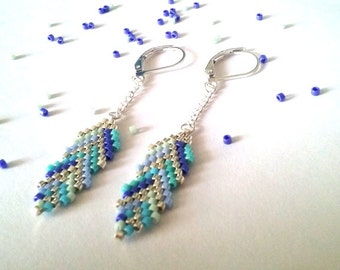 Feather Earrings -Beaded Earrings- Dangle Earrings - Beadwork