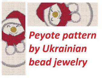 Make snowman pattern christmas pattern seed bead pattern peyote Pattern beading tutorials winter pattern primitive pattern holiday pattern