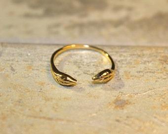 Greek Goddess Vermeil Etched Laurel Leaf Open Ring- Sizes 5 6 7 8