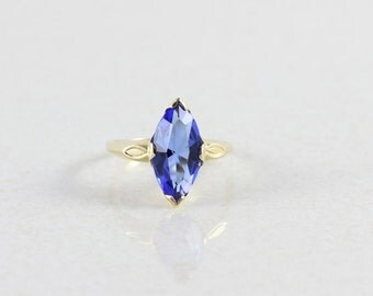 10k Yellow Gold Simulated Blue Sapphire Ring Size 6
