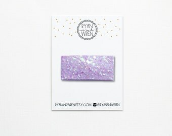 Pastel purple glitter snap clip