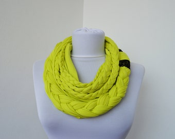 Yellow Scarf Infinity Jersey Scarf Partially braided Circle Scarf Scarf Nekclace