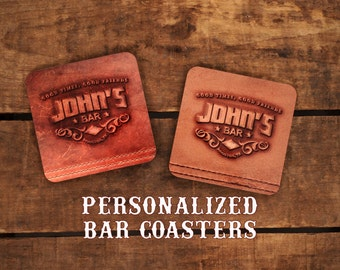 Personalized Bar Coasters - designed to LOOK like leather - beer coasters - set of 4