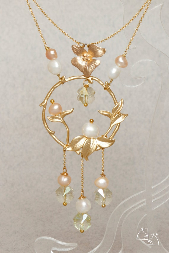 Lightest day. Luxury wedding jewelry set. Floral necklace, long earrings, Matt gold, natural pearls, Swarovski Cristal
