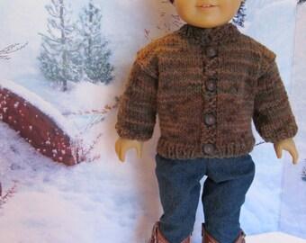 18'' Boy Doll Sweater In Heathery Shades of Brown ,Soft Olive ,Tan - Great Winterwear, Warm Sweater , Nice Boy Doll Sweater        ,