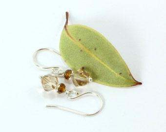 November Birthstone Earrings, Topaz Swarovski Earrings, Swarovski Crystal Earrings, Sterling Silver Earrings, Yellow Swarovski Earrings