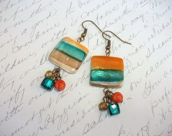 Orange and green shell tile earrings with bead drops