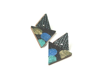 Abstract Triangle Earrings - Wooden Hipster Earrings, Lightweight Modern Earrings, Green Blue Gold