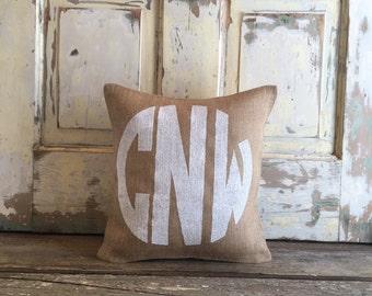 Burlap Pillow - Monogram pillow |  Monogrammed Nursery pillow | Baby shower gift | Nursery pillow | Baby Boy pillow | Boy Monogram