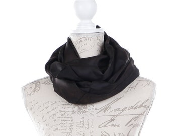 Black Infinity silk scarf / black silk circle scarf/ black loop scarf scarf/ Hand dyed / 100% habotai silk