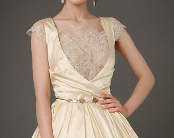 BRIAR/honey golden wedding dress//french lace wedding dress//Chantilly lace bridal dress//deep neckline from lace/illusion neckline bridal//