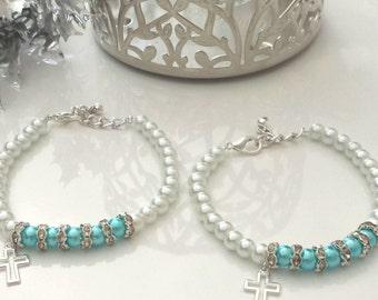 Beaded Bracelet,Flower Girl Bracelet, First Communion Gift, Baptism Gift, Bracelet, Birthday Gift, Gift for Her,
