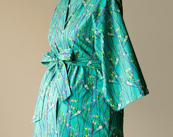 Maternity Robe Kimono Nursing Hospital Gown Post Delivery Knee length/ Long available including plus sizes Cotton Floral PP Teal
