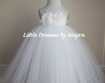 Puffy Baptism tutu dress and matching hairpiece, Christening tutu dress, white flower girl tutu dress size nb to 4T