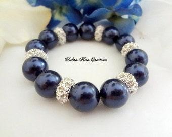 Swarovski Navy Blue Pearl Crystal Bracelet Navy Bridesmaid Jewelry Navy Blue Wedding Bridal Bracelet Navy Jewelry Mother of Groom Bride Gift