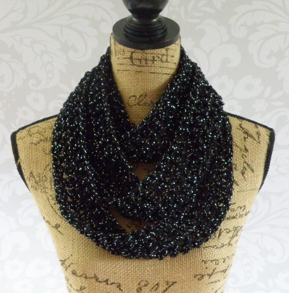 infinity scarf crochet knit black and silver glitter