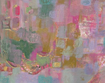 """Abstract Original Painting Acrylic Modern Pink Gold Wall Art, Contemporary Home Decor, 9"""" x 12"""" Fine Art Painting on Paper"""