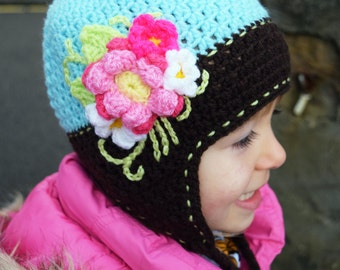 20 % OFF ! SALE! CLEARANCE ! Handmade Crochet hat for girls, Flowers hat, a Boquet of flowers Hat