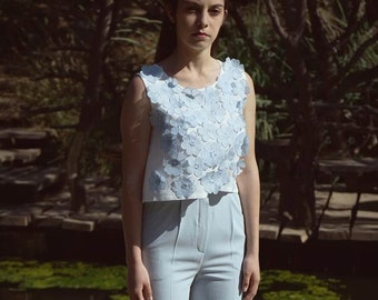 Light weight top with floral apliques and Swarovski crystal elements