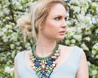 Dramatic Crystal Statement Necklace