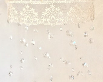 Crystal Mobile with Lace Trim, Crystal Baby Mobile, Chandelier Mobile, Metallic Gold, Crown