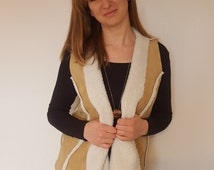 Waistcoat Brown Size Medium-Large. Suedette Shearling. Women's outdoor clothing. Winter. Casual. Handmade. Gillet. Decorative Seams.