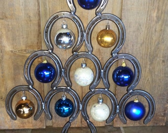 Industrial Horse Shoe Christmas Tree - ornament holder