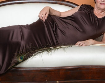 Brown Silk Jersey Dress - Scoop Neck Cap Sleeve Pullover Ankle Length Long Dress in Stretchy 100% Silk