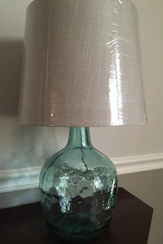 aqua glass demijohn table lamp by lindaslightofmine on etsy. Black Bedroom Furniture Sets. Home Design Ideas