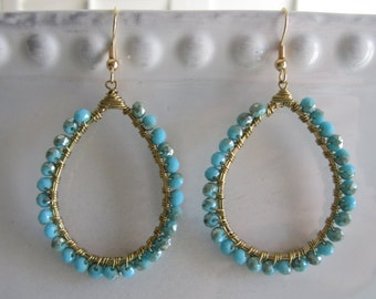 Grace Earrings in Turquoise and Gold