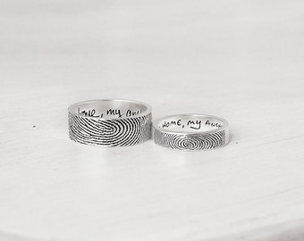 Set of 2 Personalized Actual Fingerprint Rings - His and Hers Promise Rings - Meaningful Wedding Gifts for Couple - FR02FM