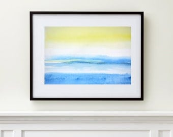 Bright Painting, Yellow and Blue Watercolor Print Abstract Painting, Spring Colors,Landscape Print Art,Horizontal Art Print,8x10 11x14 13x19